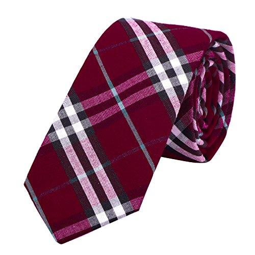 DonDon Corbata de cuadros e rayas de algodón para hombres de 6...