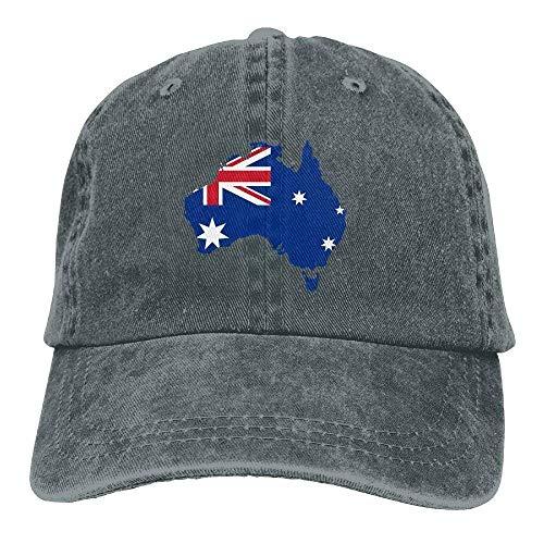 deyhfef Australien-Flaggen-Karte Unisexgewaschener justierbarer Cowboyhut Denim-Baseballmützen Multicolor10