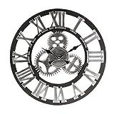 Jeteven 3D 60cm Horloge Pendule Murale en Bois Vintage Rétro Européenne Roue Dentée Argent