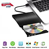 USB3.0 DVD-RW DVD/CD Brenner Slim extern Laufwerk Portable DVD CD Brenner, Superdrive für alle Laptops/Desktop z.B Lenovo, Acer, Asus, PC unter Windows und Mac OS für Apple Macbook, Macbook Pro, MacbookAir, iMac, Schwarz
