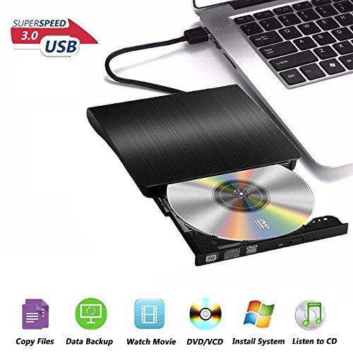 USB3.0 DVD-RW DVD/CD Brenner Slim extern Laufwerk Portable DVD CD Brenner, Superdrive für alle Laptops/Desktop z.B Lenovo, Acer, Asus, PC unter Windows und Mac OS für Apple Macbook, Macbook Pro, MacbookAir, iMac, Schwarz
