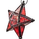 Hängeleuchte aus Glas mit Sternenmotiv, Weihnachtsdeko, Marokkanischer Stil, Teelicht-Laterne mit Kerzentablett, Dekoration für Zuhause, Schlafzimmer, Outdoor, Garten Free Size rot