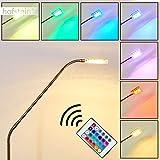 LED Stehleuchte Fansen aus Metall in Nickel matt - mit Farbwechsler und Fernbedienung - Bodenleuchte für Wohnzimmer mit verstellbaren Gelenken - 3000 Kelvin - 320 Lumen