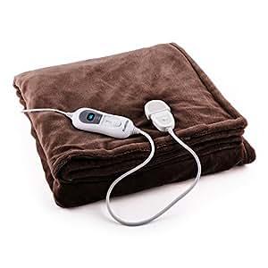 Klarstein Dr. Watson XL • couverture électrique • couverture douce • couverture chauffante • 180 x 130 cm • 120 Watts • minuterie • commande amovible • nettoyage facile • lavable en machine • marron