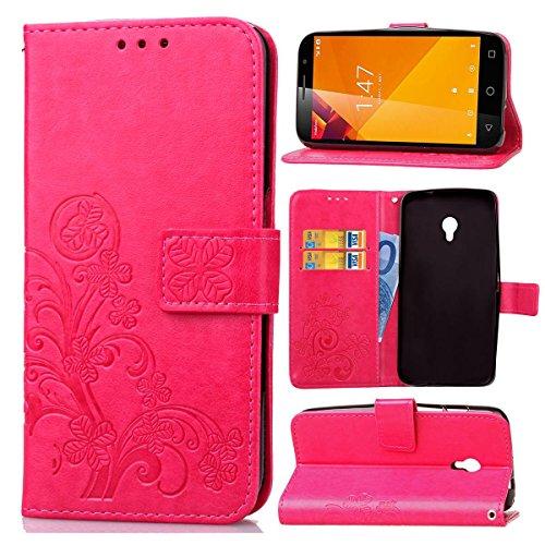 Guran® Custodia in Pu Pelle Lucky Clover Flip Cover per Vodafone Smart Turbo 7 Smartphone avere Portafoglio e Funzione Stent Modello di Trifoglio Fortunato Copertura Protettiva - Rosa rossa