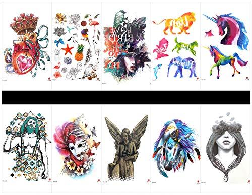 PAMO Gefälschte und echte Tempo-Sticker, die wirklich nach Kinder aussehen - 8 Stück Cartoon-Tattoo-Sticker in einem Paket, darunter Pilz, Krake, Totem, Sterne, Cartoon-Auto, Elefant usw.