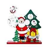 ZHRUI Decorazioni Natalizie, Cofanetto in Legno Regalo + Pupazzo di Neve Babbo Natale Desktop + Regali Artigianali Fai da Te