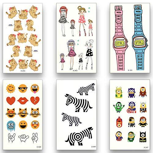 Temporäre Tattoo-Aufkleber 12 Blatt Temporäre Fake Tattoo Wasserdicht Wassertransfer Schöne Kleine Cartoon-Muster Katze Aufkleber Schönheit Kunst Für Kinder