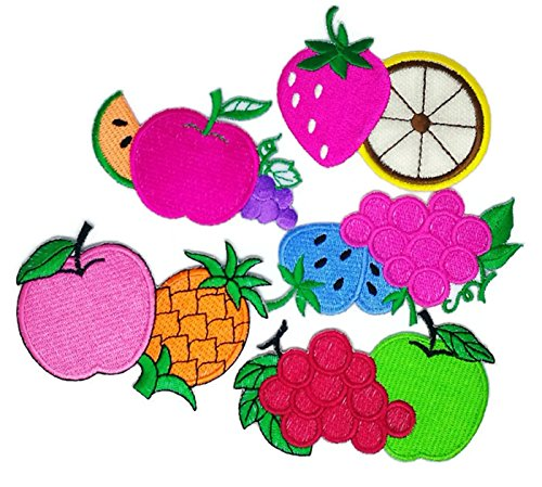 Mix 5 von Strawberry Grape Apple Ananas Obst Cartoon Patch Sew Iron on gesticktes Badge Symbol Custom (Gestickt Apple)