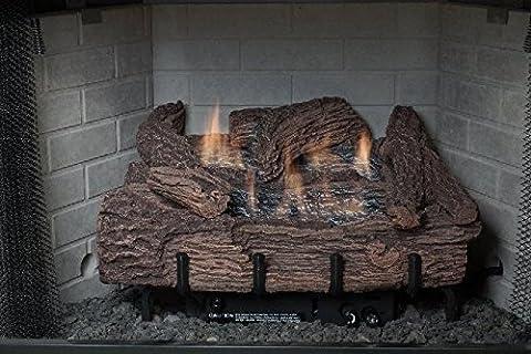 24 Inch Palmetto Oak 6-Piece Log Set & NG Millivolt Control Burner by Ever Warm