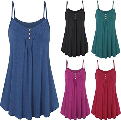 MERICAL Women Summer Loose Button V Neck Cami Tank Tops Vest Blouse