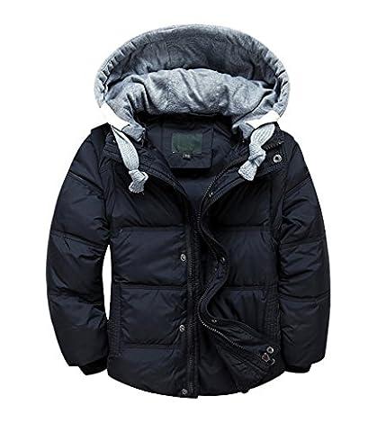 YoungSoul Doudoune pour Fille Garçon Veste d'hiver avec Capuche Amovible Doudoune Sans Manche Enfant Manteau Chaud Automne Noir 8-9T/Stature 130-140cm