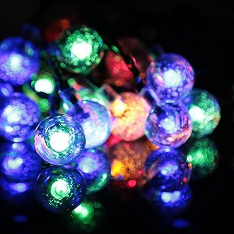 Striscia Luce LED, Abestbox [Elimentato da energia solare] 16.4ft 20 LED [IP65 Impermeabile]Palla Cristallo Luce Stellata dell'Ambiente, Bianco Caldo