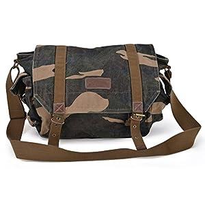 51Rz1lLHdaL. SS300  - Hombro GOOTIUM 30623 lona clásica de los hombres bolsa de mensajero bolsa, 40 cm, verde del ejército