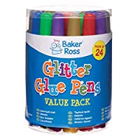 Baker Ross Glitter Glue Pens (Pack Of 24) For Kids Arts And Crafts