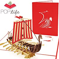 PopLife Viking Ship 3D Pop Up Card for All Occasions - Happy Anniversary Pop Up Father