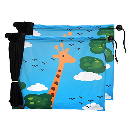 Chilsuessy 2 Stk Sonnenschutz Auto Universal Baby Sonnenblende Schutz für Kinder in Babyschale, Seitenscheibe Autosonnenschutz, Giraffe -
