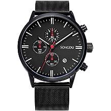Songdu Herren Schwarze Uhren Multifunktions Chronograph mit Datum Kalender und Milanese Armband