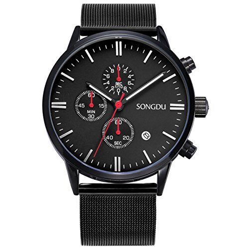SONGDU-Unisex-Silver-Chronograph-Watch-Big-Face-Stopwatch-with-Date-Calendar-and-Milanese-Mesh-Strap