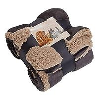 "Brentfords Large Sherpa Pet Dog Blanket Soft Fluffy Warm Animal Cat Kitten Kennel Mat Warm Throw Over Plush Fleece, Charcoal Grey - 30"" x 43"""