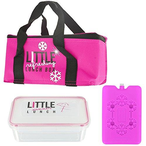 Promobo - Lunch Bag Panier Repas Isotherme Box Fraicheur avec Pain de Glace Rose