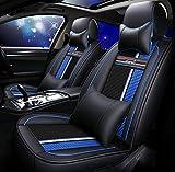 YRRC Funda de asiento de cuero de lujo para asientos de seda de hielo y hielo - Cojín de asiento de ajuste universal con forro de gamuza antideslizante para asientos de tela y cuero,Blue