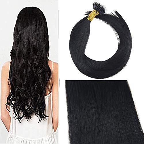 Sunny 100% extension cheratina capelli veri jet nero 1# remy nano rings loop extension dei capelli umani 18 pollice 50g 1g/ciocche