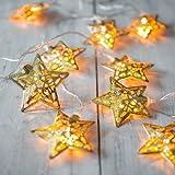 Rethinkso Luce spia 10 metallo stringhe decorazione luce luce bianca a LED per la festa di Natale di festa di Halloween (Gold )
