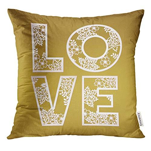 Dekokissenbezug Pink Cut Cutout Love Design Over Gold May Be Laser Cutting Fancy Letters Alphabet Decorative Pillow Case Home Decor Square 18x18 Inches Pillowcase