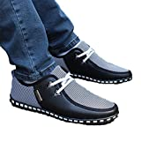 Ngjifvjishu 2018 Summer Autumn Striped Men Casual Shoes Size 39-47 Lightweight Men's Doug Shoes PU Leather Lace up Male Flats 176 Black 12