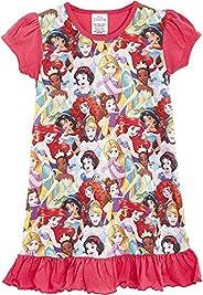 Disney Camicia da Notte Bambina Maniche Corte, Pigiama Costume per Ragazza Stampa Principesse E Personaggi Car