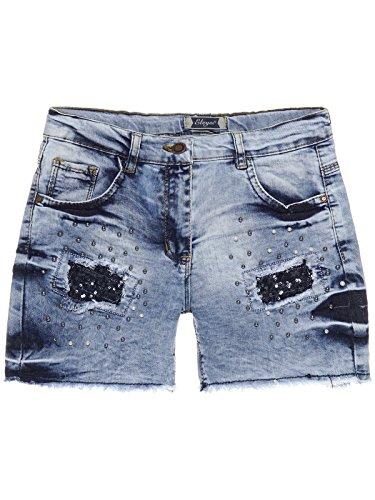 Mädchen Jeans Shorts Hot Pants Pailletten und Riss Optik 22679, Größe:128