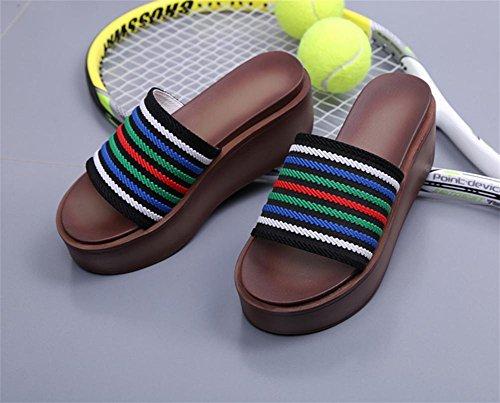 pengweiMuffin Bottom Un mot tra?n¨¦ femme d'¨¦t¨¦ Sandales talon de talon Fashion Slippers 2