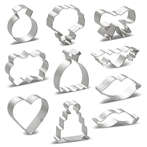 KENIAO Ausstechformen Hochzeit Plätzchen Ausstecher Set - 10 Stück - Brautkleid, Diamantring,...