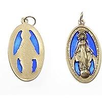 Medaglione di metallo argentato Vergine Maria Miracolosa blu di vetro - Miracolosa Vergine