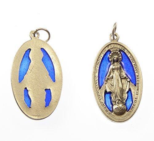 Medaglione di metallo argentato Vergine Maria Miracolosa blu di vetro
