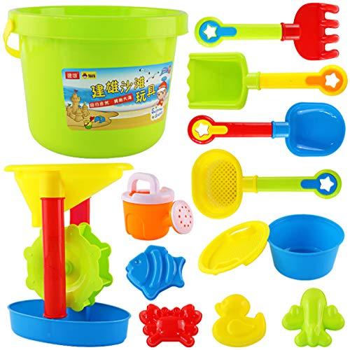 F Fityle 12x Bunt Wasserspielzeug Badespielzeug Badewannenspielzeug – Wasserrad + Wassereimer + Rechen + Schaufel + Tierformen + Eimer + Kanne