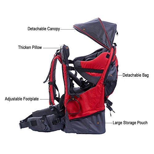 Rucksacktrage für Babys und Kleinkinder, Wander-Transport-Rucksack, Regenschutz und Sonnenschutz für das Kind, rot