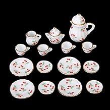 Dcolor 15 pezzi Casa delle bambole in miniatura stoviglie di porcellana da tavola tazza di te' piatto set rosso ciliegia