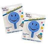 Baby Buddy - Cinta para chupete (2 unidades, 0-36 meses), diseño de smiley, color azul