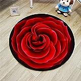 Unbekannt Teppich Kreative Rose Runde Teppich Wohnzimmer Pad Korb Drehstuhl Hocker Computer Stuhl Kissen Schlafzimmer Nette Nachttischdecke (Farbe : #2, größe : Diameter-80cm)