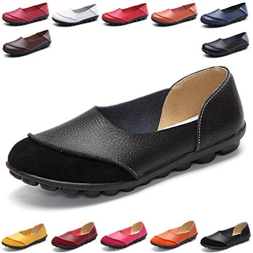 Hishoes Damen Casual Mokassin Leder Loafers Fahren Flache Schuhe 41 EU=Etikettengröße 41 (Schwarzen Frauen Flache Schuhe)