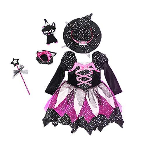 BRAVOSOLEIL Mädchen-Hexe-Kostüm-Klassiker Halloween Fancy Dress Up Outfit mit Hut für Mädchen Halloween-Kostüme Märchen Korsett-Kleid-Partei-Kostüm 90cm 1Set (Märchen Klassiker Kostüm)