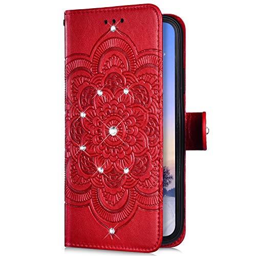 Uposao Kompatibel mit Samsung Galaxy Note 10 Pro Handyhülle Mandala Blumen Muster Diamant Bling Glitzer Strass Schutzhülle Flip Wallet Bookstyle Klapphülle Leder Hülle Magnet Kartenfächer,Rot