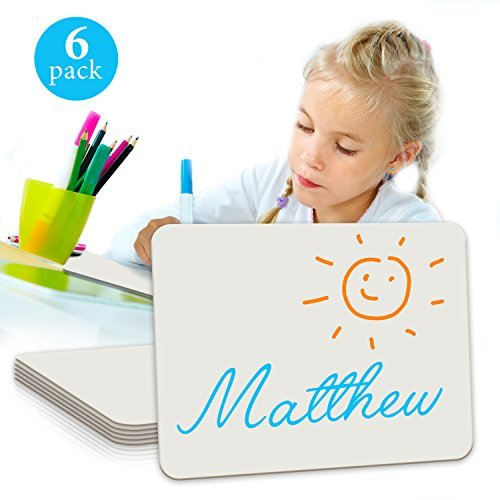 6Pack Dry Erase Lap Board 22,9x 30,5cm | Interaktives lernen Whiteboard | für Schüler und Gebrauch im Klassenzimmer, Zeichenbrett, und College Board (einseitig) (Löschen Trockenen Board-student)