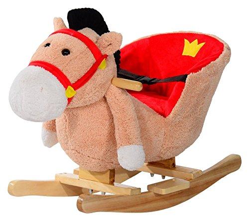 HOMCOM Schaukelpferd Kinder Schaukeltier Plüsch Schaukel Pferd Baby Schaukelspielzeug Geschenk für Kinder (Schaukelpferd)
