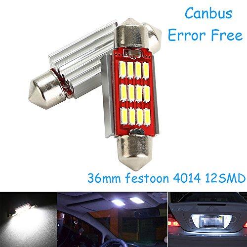 CICMOD 2x 800 Lumen CANBUS fehlerlose 12*4014 SMD LED Innenraumbeleuchtung Innenbeleuchtung Kennzeichenbeleuchtung Soffitte Lampe Licht 36mm Xenon-Weiß 6000K