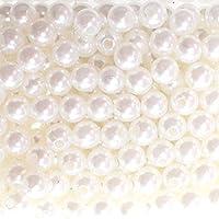 250x perle finte perle di cera Perline 8mm dekoperlen perline perle artificiali con foro, bianco