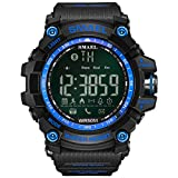 SMAEL Sports Watch Digital Wrist Watch Quartz Movement Military Style Water Resistant Smartwatches (Black Strap with Blue face)