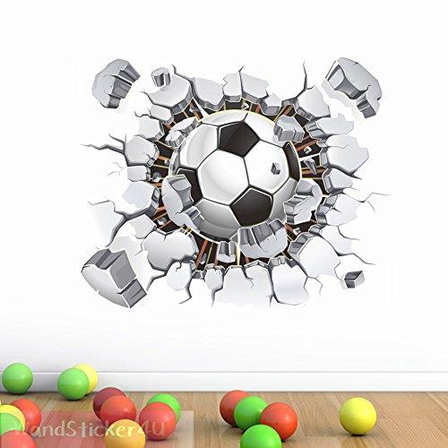 attoo in 3D Optik: Fussball | Wandbild: 40x50 cm | Wandsticker EM Sport Mauerwerk Poster Wand Aufkleber Deko für Kinderzimmer Junge, Küche, Flur (Poster Wand)